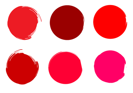 Rounded watercolor. Painted Shapes. Colorful circles. Round watercolor drops. Brush blobs. Hand drawn strokes set. Red, pink, carmine, orange makeup colors circles. Vector elements.
