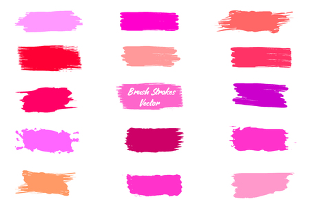 Label brush strokes. Watercolor background. Textured elements. Grunge brush strokes set. Colorful liquid elements collection. Paint smudges. Red, pink, violet lipstick spots. Ink drawn label patch