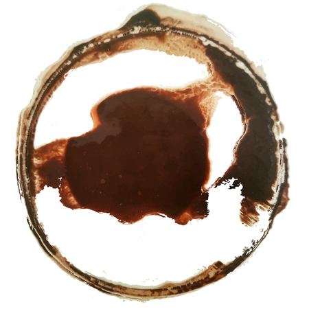 Coffee stain. Vector design. Cacao, tea trace. Watercolor. Hand drawn. Isolated on white. Editable design. Brown round trace. Coffee cup spot. Cacao splash. Tea stain. Cups ring