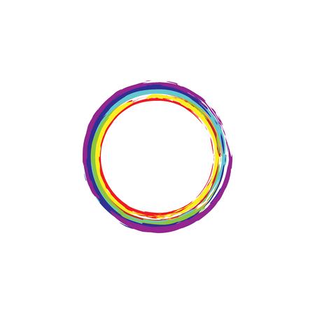 Rainbow enso. Zen circle. Original vector design. Brush round element. Iridescent enso. Stroke circle. Logo, emblem design. Hand drawn. Watercolor zen symbol. Letter O illustration.
