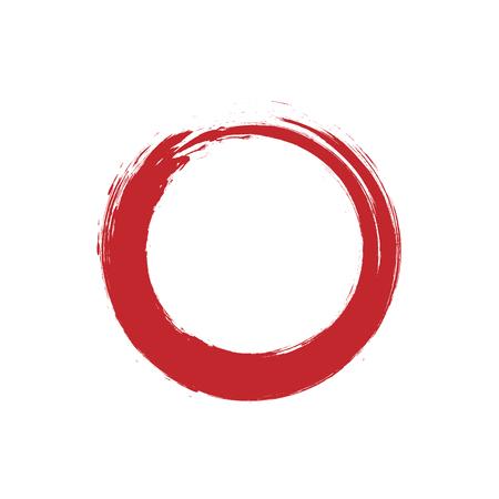 Enso symbol. Brush zen circle. Hand paint. Vector design. Calligraphic red element. Stroke enso symbol. Logo, emblem design. Watercolor round element. Ink circle.