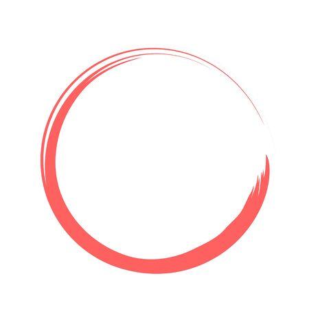 Red and White Zen Enso Symbol. Original Vector Design. Painting Enso Zen Circle. Chinese Style Illustration. Logo, Emblem Design. Brush Drawn Buddhist Sign Isolated on White. Fine Art Element.