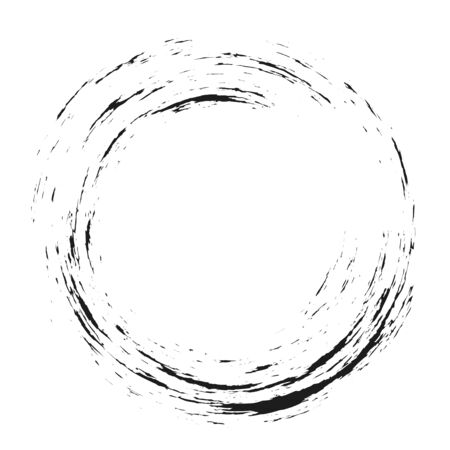 Enso symbol design. Brush black circle. Original hand paint logo, emblem design. Brush stroke round shape. Zen enso sign vector illustration. Chinese, japanese meditative symbol. Minimal logo design