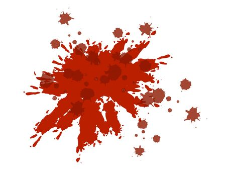 Blood Dribble Vector Template. Red Ink Drops Isolated on White. Blood Splatter. Abstract Watercolor and Ink Splash. Realistic drop and blob. Bloodstains Elements for Halloween Decoration.