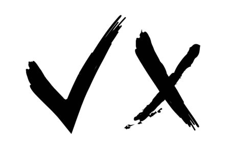 Grunge ink vector buttons for vote. Monochrome Original web icons. X and ok symbol signs. Yes, no symbolic signs. Approval tick and rejection cross.