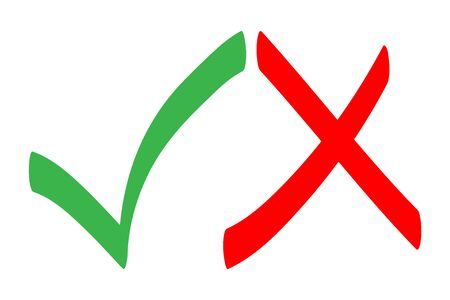 Cross and tick symbols. Colorful Knowledge assessment symbols. Vector voting marks set. Approval signs design. Approval tick and rejection cross.