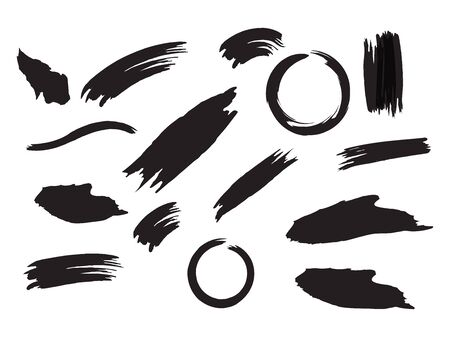 Brush Strokes Original Vector Set. Paint Stroke Shape. Black, White Abstract Paint Stroke. Box Border with Painted Brushstrokes. Hand Paint Smears Collection.