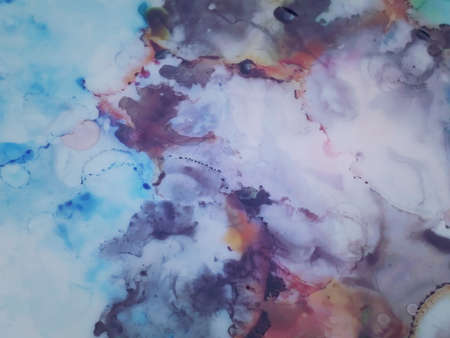 Modern Clouds Ink Wallpapers. Ink Paint Texture. Ivory, Blue Brush Stroke Canvas. Marble Slab Design.  Light Colors Aquarelle Brush Smears. Pink, Yellow Blobs and Spots Background. Banco de Imagens