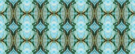 Geometric pattern. Fabric design. Rhombus seamless print. Kaleidoscope style. Ethnic geometric pattern. Tie dye texture. Blue, turquoise, green colors. Watercolor wallpapers. Hand drawn.