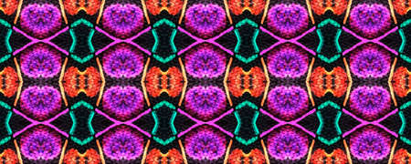 Tribal print. African seamless pattern. Indonesian ornament. Kaleidoscope texture. Hand drawn. Acid colors. Tribe design. Folk motif. Optical effect. Pink, blue, orange, black tile background.