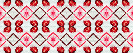 Tie dye pattern. Hand drawn shibori print. Red ink background. Modern batik tile. Geometric ornament. Seamless tie dye pattern. Watercolor shibori texture. Ethnic design. Rhombus pink print Stock Photo