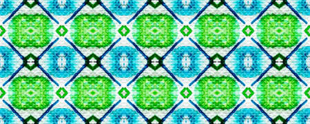 Tie dye pattern. Hand drawn shibori print. Blue, green, red ink background. Modern batik tile. Geometric ornament. Seamless tie dye pattern. Watercolor shibori texture. Ethnic design. Rhombus print
