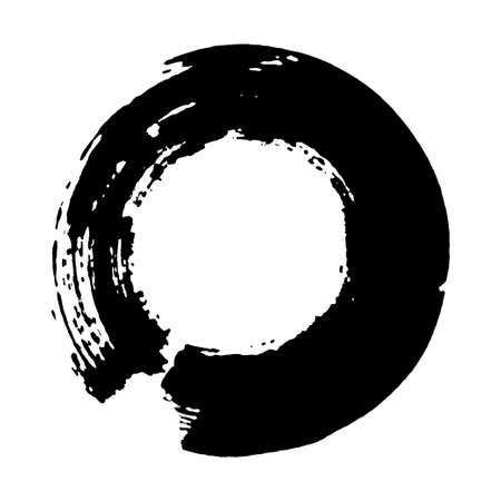 Enso symbol vector design. Chinese style illustration. emblem design. Brush drawn buddhist sign. Fine art element. Stroke round shape. Enso - buddhist symbol. Black brushed circle.