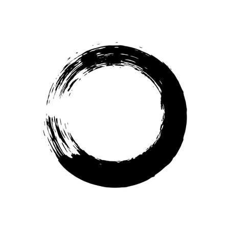 Enso symbol vector design. Chinese style illustration. emblem design. Brush drawn buddhist sign. Fine art element. Stroke round shape. Enso - buddhist symbol. Black brushed circle. Ilustracje wektorowe