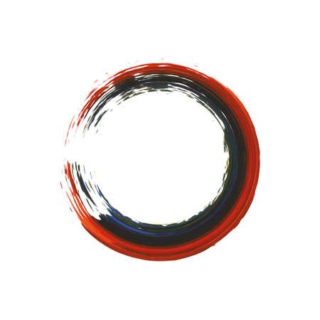 Enso symbol vector design. Red brush stroke round shape. Grunge stroke circle. Enso zen symbolic sign. Artistic hand drawn enso.