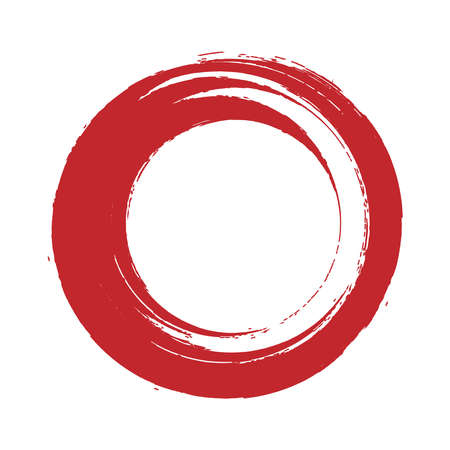 Red enso symbol isolated on white. Brushed round smear element. Red brush stroke label background. Circular artistic sign. Lipstick round trace