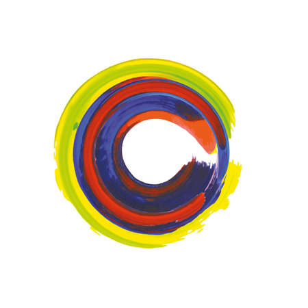 Rainbow colors enso symbol. Vector illustration. Mexican colors brushed stroke circle. Colorful label background. Abstract sign