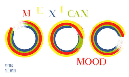 Rainbow brushed stroke circles vector set. Mexican colors round label backgrounds. Red, green, blue, yellow round brush smears. Rainbow enso, zen abstract symbol.