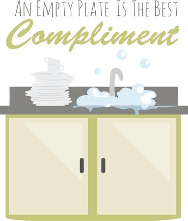 dinnerware: Cooks love a clean kitchen and can show it off with a bubbly sink. Illustration