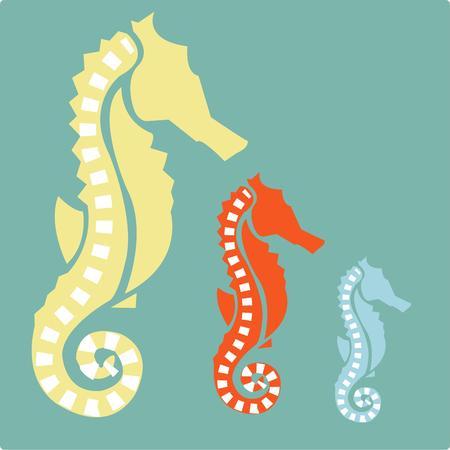 대양의: Three classy seahorses are a display of oceanic elegance.  They are a stunning embellishment for beach gear or pool side d?cor. 일러스트