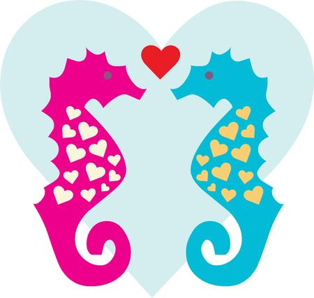 oceanic: Seahorses in love are a fun display of oceanic elegance.  They are a stunning embellishment for beach gear or pool side d?cor.