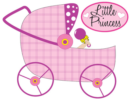 it girl: Plan the perfect baby shower or create an amazing birth announcement with this trendy stroller design.  Pink on pink coloring make it perfect for the new little girl!