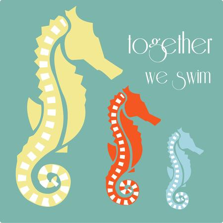 oceanic: Three classy seahorses are a display of oceanic elegance.  They are a stunning embellishment for beach gear or pool side d?cor. Illustration