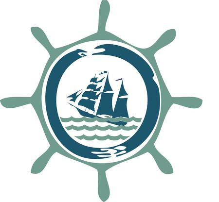 dcor: This ship through the wheel design offers some good advice.  Love this nautical favorite on towels or d?cor for the boat.