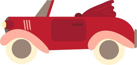 four wheeler: This fascinating red car is a collectors dream.  Create something special for any car collector like shirts or jackets. Illustration