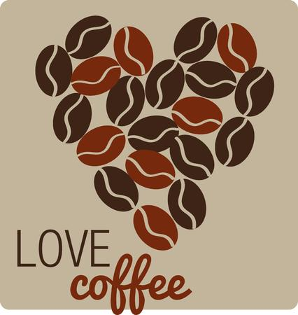 caf: A heart of coffee beans could mean nothing more than a coffee lover is here.  This is a fitting decoration for a coffee mug.