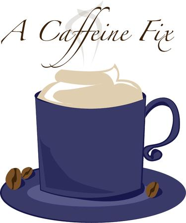 caf: A lovely mug of fresh ground coffee - the morning caffeine fix is here.  This is a fitting decoration for a coffee mug.