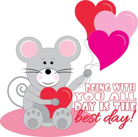 affection: A special message of love and affection comes your way from a sweet little mouse.  Decorate the perfect Valentine with this sweet fellow.
