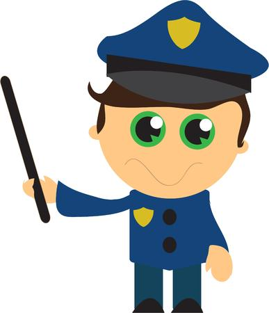 dreamy eyed: This is the cutest policeman ever.  This dreamy eyed darling is the perfect apparel decoration for the little guy aspiring to become a policeman. Illustration