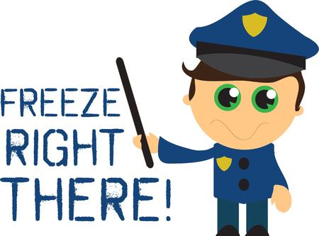 eyed: This is the cutest policeman ever.  This dreamy eyed darling is the perfect apparel decoration for the little guy aspiring to become a policeman. Illustration