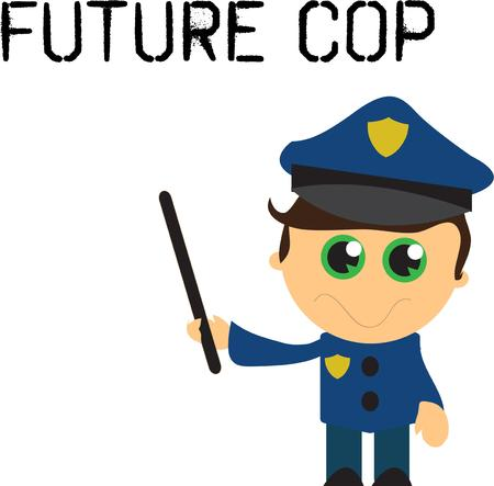 become: This is the cutest policeman ever.  This dreamy eyed darling is the perfect apparel decoration for the little guy aspiring to become a policeman. Illustration