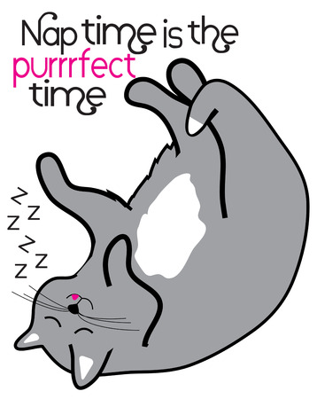 knows: Our cute little kitty knows that anytime is the purr-fect time for a nap!  Cat lovers are sure to love this feline design on scarves, jackets and shirts.  Great gift idea! Illustration