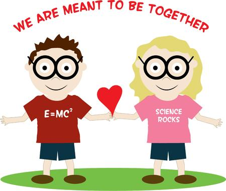 smart woman: Boys and girls learn differently yet there is love between this pair of scholars.  This couple make a fun Valentines decoration for apparel or bags. Illustration