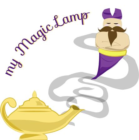 jinni: Your wish for a magical design is granted with this magical genie and his lamp.  Add this design and create magical apparel for kids and adults alike. Illustration