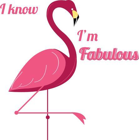 brings: This flamboyant flamingo lawn ornament brings it\\ Illustration