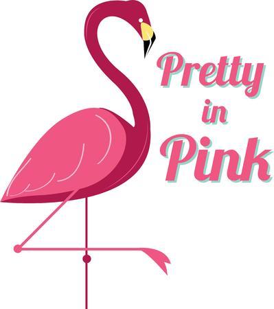 brings: This flamboyant flamingo lawn ornament brings it\\ Vettoriali
