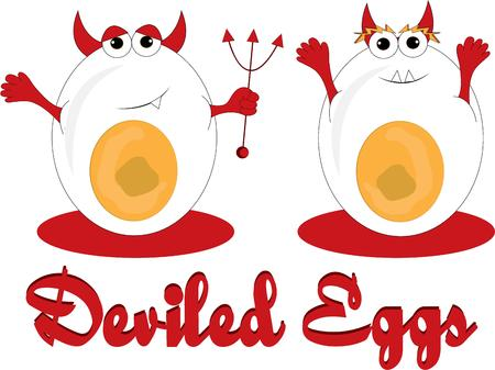 devilish: These devilish eggs add their unique brand of humor to your creations.  They are super fun to decorate for your buffet table.