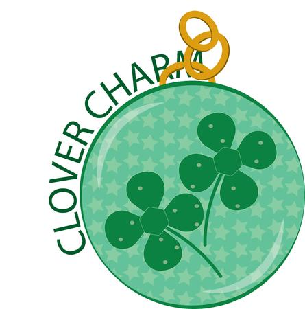 st  patty: A lucky charm with two lucky clovers - what could possibly bring more luck!  Add this special good luck charm to your St. Patty\ Illustration