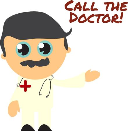 see a doctor: Our cute little doctor is ready to prescribe a cure but some say an apple a day will lessen your need to see him.  He is super cute on a fun scrub top. Illustration
