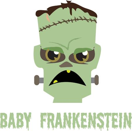 scientific experiment: Boo! Did I Scare You? says this famous creature invented during a scientific experiment.  Decorate for Halloween or create a fun baby onesie! Illustration