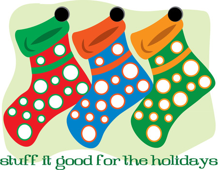 hung: These fun and colorful stockings are hung by the chimney waiting for Santa Illustration