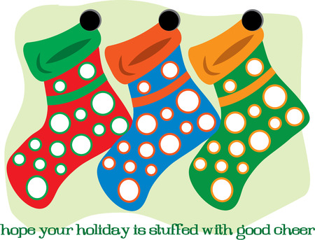 stuffer: These fun and colorful stockings are hung by the chimney waiting for Santa Illustration