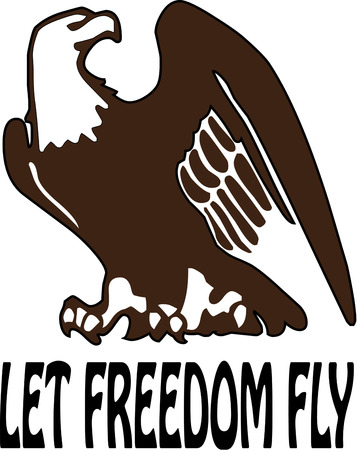 flair: This one color eagle silhouette stands proud on your creations.  Add a patriotic flair to hats or shirts with this regal bald eagle.