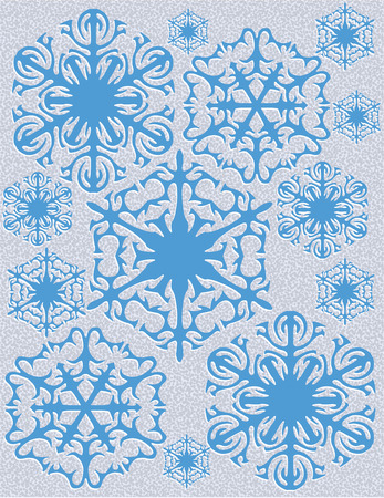 snowfalls: The beautiful and intricate shape of snowflakes add winters beauty to your holiday decor and Stitch in metallic thread for an amazing effect Illustration