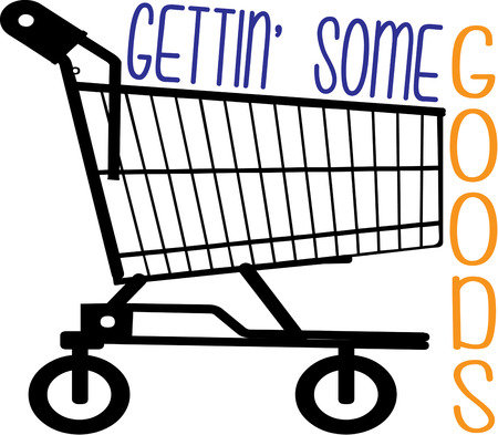 shoppers: Here is a big shopping cart for the most dedicated shoppers.  A clever way to decorate store sinage or uniforms. Illustration