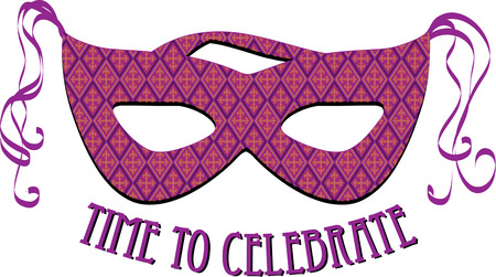show time: It is time for the masquerade ball with this stunning purple mask.  Side streamers make this mask a real show stopper.